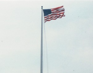 U.S. flag flutters in the wind